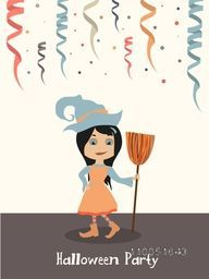Illustration of a scary girl wearing witch hat, human clothes and holding a horn broom with ribbons and stylish text Halloween Party.