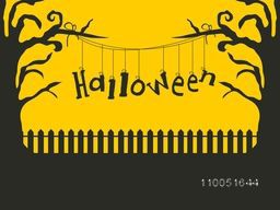 Horrible Halloween text hanging on dry branches of tree in scary night scene.