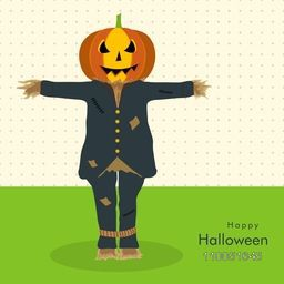 Scary face of pumpkin wearing human clothes with stylish Halloween wishing text on dotted background.