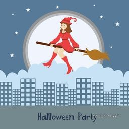 Illustration of a girl wearing red dress and witch hat flying on a horn broom with stylish text Halloween Party.