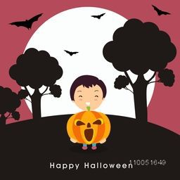 Illustration of a boy holding a scary pumpkin with silhouette of trees and flying bats in-front of moon with stylish Halloween text.