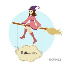 Illustration of a girl wearing witch hat sitting on flying horn broom with hanging Halloween text.