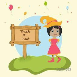 Illustration of girl wearing witch hat with Trick or Treat text on wooden board.