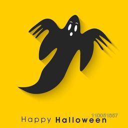 Silhouette of a scary flying ghost with stylish text Happy Halloween on bright yellow background.
