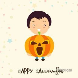 Illustration of a boy holding a scary pumpkin with stylish Halloween text.