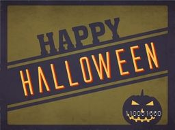 Stylish text of Happy Halloween with horrible face of pumpkin on retro background.