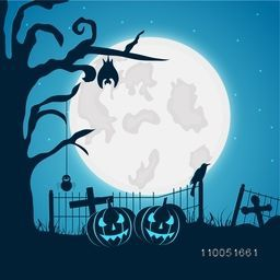 Horrible night scene with full moon, scary pumpkins and silhouette of a crow, christians symbol and dry tree with hanging bat and spider.