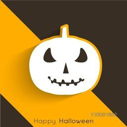 Illustration of a scary pumpkin face with stylish Happy Halloween text on black and orange background.