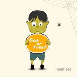 Illustration of a scary boy holding a pumpkin with stylish text Trick Or Treat and a spider weaving its cob web.