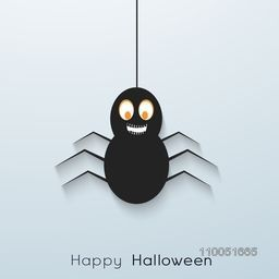 Illustration of a scary laughing spider hanging with rope and stylish text Happy Halloween.