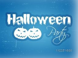 Stylish text of Halloween Party with two spooky faces of pumpkin on blue retro background.