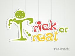 Stylish text of Trick Or Treat with scary pumpkin face.