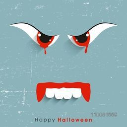Dangerous face with red eyes and mouth with stylish Happy Halloween text on retro background.