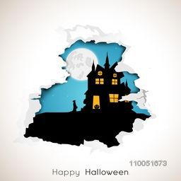 Silhouette of a house with a lady and scary pumpkin in spooky night scene with stylish text.