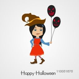 Illustration of a girl wearing witch hat holding balloons with horrible faces and stylish text Happy Halloween.