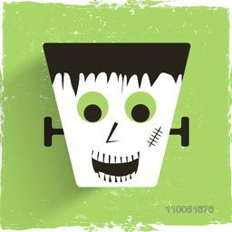 Illustration of a dustbeen with scary face on green retro background.