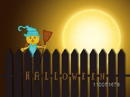 Illustration of a scary pumpkin wearing witch hat holding a horn broom in horrible night scene with stylish text.