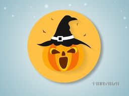 Spooky face of pumpkin wearing witch hat with silhouette of flying bats.