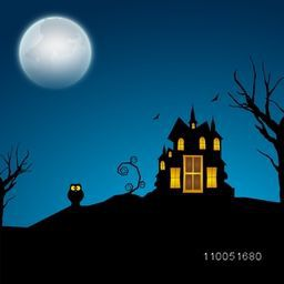 Horrible night scene with silhouette of house with golden door and windows, owl, dry trees, flying bats and full moon.