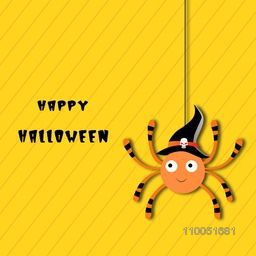 Hanging spooky spider wearing witch hat with stylish Happy Halloween text on bright yellow linen background.