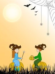 Illustration of a girl wearing witch hat and holding magic rod and boy holding scary pumpkin with spider weaving cob web and flying bats.