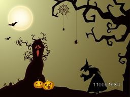Dangerous night scene with silhouette of a witch, dry tree, hanging spiders with cob web, flying bats, an owl and scary faces of pumpkins.