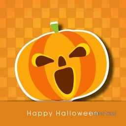 Scary face of pumpkin with stylish text of Halloween on orange background.