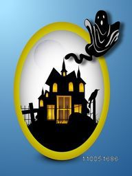 Silhouette of a house with golden door, windows and scary crow with flying ghost in oval shaped frame.