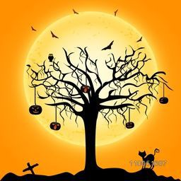 Silhouette of a dry tree in-front of moon with hanging spooky pumpkin faces, flying bats and cat in horrible night scene.