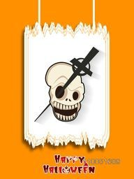 Horrible skull with christians symbol crossed from its eyes and stylish text on orange background.