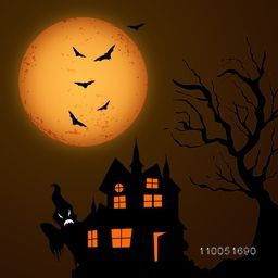 Silhouette of scary house, ghost, dry tree and flying bats in-front of moon in dangerous night scene.