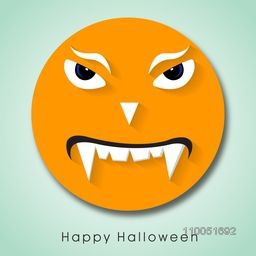 Illustration of a scary face with stylish Halloween wishing text.