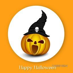 Horrible face of pumpkin wearing witch hat with stylish Halloween wishing text on orange background.