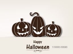 Illustration of scary pumpkin faces with stylish Halloween wishing text.