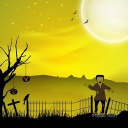 Dangerous night scene with horrible ghost, silhouette of scary pumpkin hanging on dry tree, crow and flying bats.