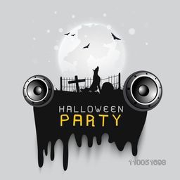 Scary night scene with silhouette of wolf, flying bats and christians symbol with stylish text Halloween party.