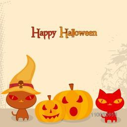 Halloween party celebration with scary cat wearing pilgrim hat and pumpkin on beige background, can be use as poster, banner or flyer.
