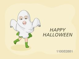 Poster, banner or invitation for Halloween party celebration with girl in traditional ghost costume on beige background.