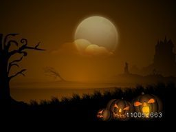 Halloween party celebration concept with jack o lantern on scary night view background.