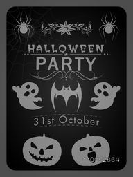 Happy Halloween party celebration poster, banner or flyer with details and Halloween object on dark grey background.