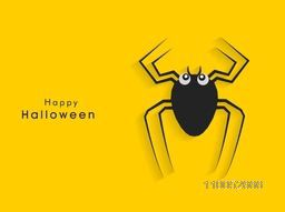 Poster, banner of flyer for Halloween party celebration with black spider on yellow background.