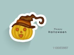 Halloween party celebration sticker, tag or label of pumpkin wearing pilgrim hat, can be use as poster, banner or flyer.