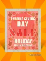Flyer of sale for Thanks Giving Day on orange background.