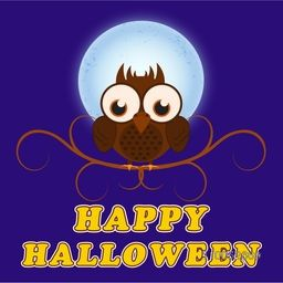 Cartoon of a owl sitting on floral design web for Halloween party celebration on blue background, can be use as poster, banner or flyer.