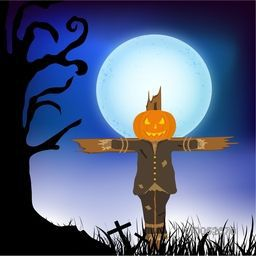 Halloween scarecrow with dry tree and moon on nature view background.