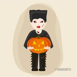 Scary vampire holding a pumpkin on stylish beige background for Halloween concept.