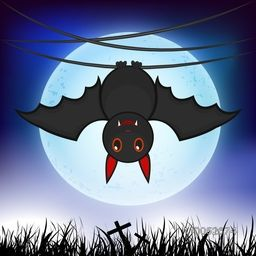 Scary cartoon of a bat hanging on spider web for Halloween concept.