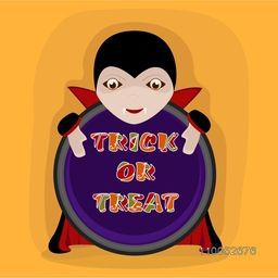 Sticker, tag or label with vampire for Trick Or Treat party celebration on yellow background.