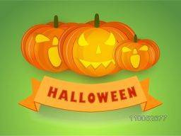 Poster, banner or flyer for Halloween party celebration with pumpkins on green background.
