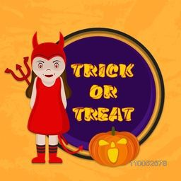 Poster or banner for Trick or Treat party with scary girl and pumpkin face on stylish background.